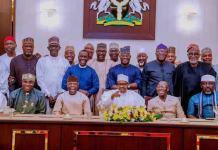 President Muhammadu Buhari met with senators-elect and governors on Monday