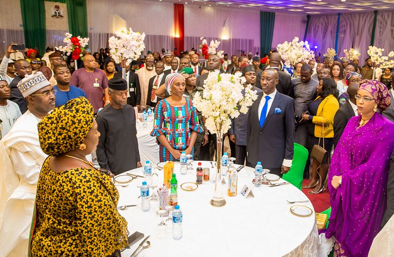 Vice President Yemi Osinbajo and his wife, Dolapo Osinbajo during a reception for PMB PYO volunteers