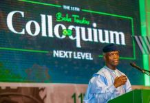 Vice President Yemi Osinbajo speaking at the 11th Bola Tinubu Colloquium in Abuja on 28 March 2019