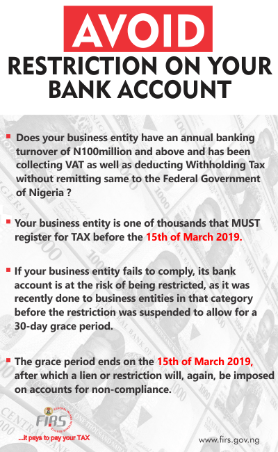 FIRS advert on Bank Account