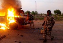 FILE: Boko Haram terrorists' truck set on fire by Nigerian troops in Damaturu