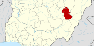 Gombe state on map of Nigeria