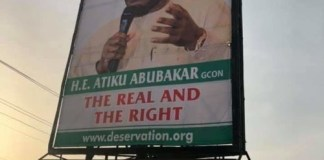 PDP presidential candidate Atiku Abubakar has disowned The Pukka billboard