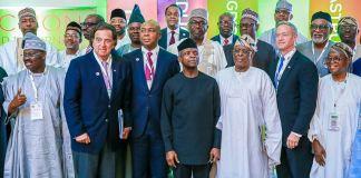 Vice President Yemi Osinbajo with Senate President, Dr. Bukola Saraki (R); Gov. Zamfara State & Chairman NGF, Alh. Abdulaziz Yari Abubakar and other Governors & Governors-Elect present