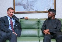 Vice President Yemi Osinbajo with United Kingdom Foreign Secretary, Mr. Jeremy Hunt