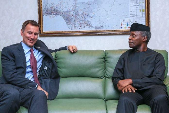 Vice President Yemi Osinbajo with United Kingdom Foreign Secretary, Mr. Jeremy Hunt