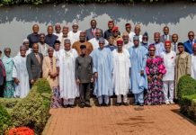President Buhari, VP Osinbajo and ministers after the valedictory session on Wednesday