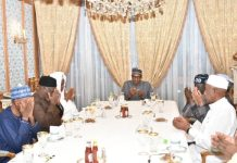 President Muhammadu Buhari breaking fast with APC leaders and business community