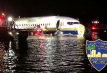 The Boeing 737 plane skidded off the runway into the river