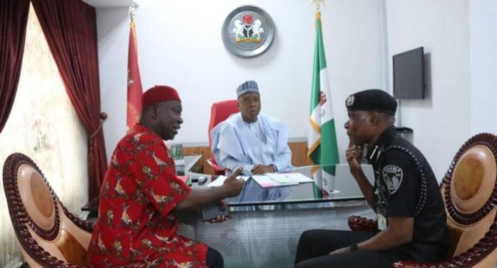 The acting IG of Police in a meeting with the President of the Senate Bukola Saraki and hi Deputy Ike Ekweremadu