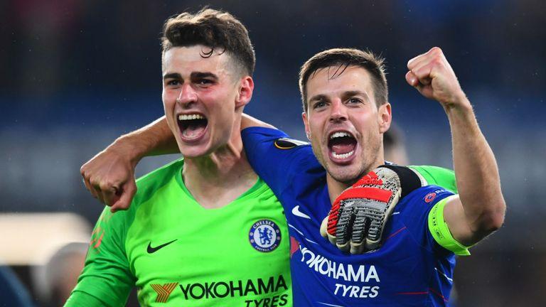Kepa Arrizabalaga and Cesar Azpilicueta celebrate Chelsea's win