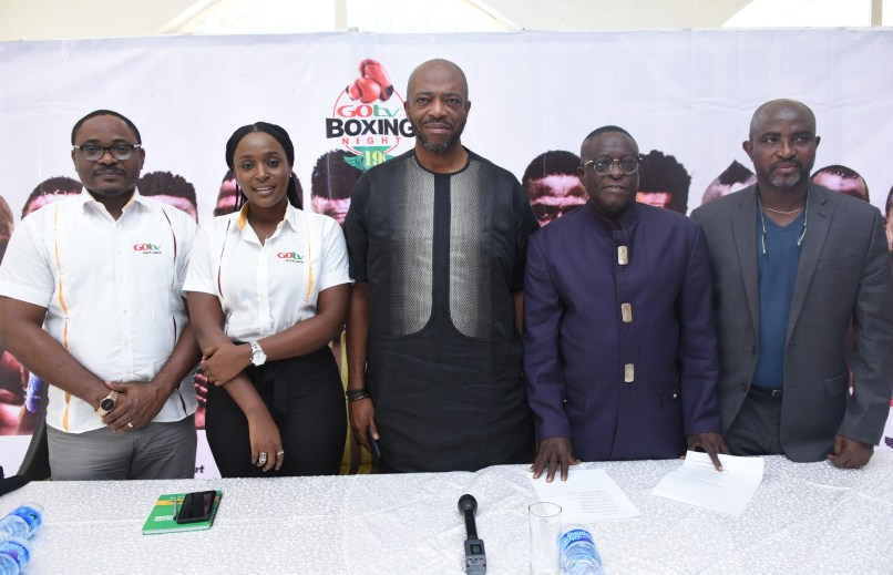 L-R: Chidozie Bede-Nwokoye, Senior Marketing Manager GOtv;  Jennifer Ukoh, Public Relations Manager, GOtv; Jenkins Alumona, CEO Flykite Production; Dr. Rafiu Ladipo, President NBBofC and Remi Aboderin, Secretary General of NBBofC during the GOtv Boxing Night 19 Press Conference held at The Regency Hotel, Ikeja GRA.