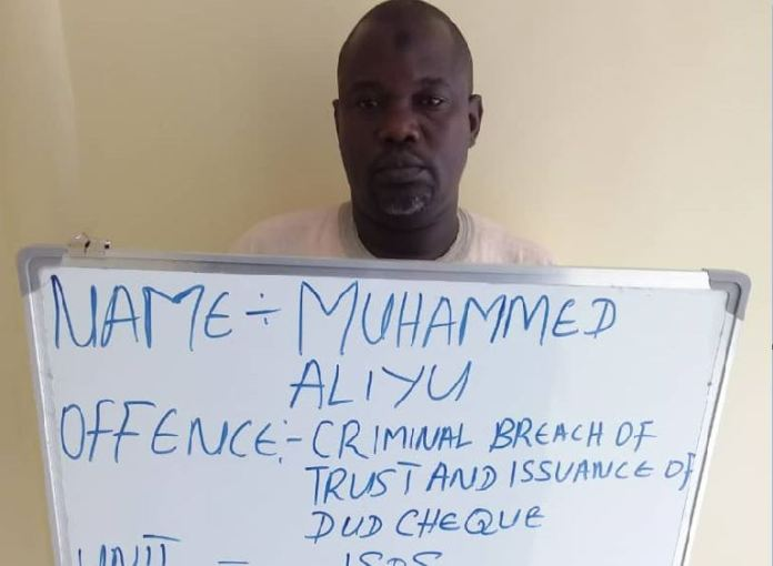 Mohammed Aliyu issued a dud cheque and was jailed two year