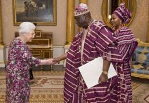 Nigeria's High Commissioner to UK, George Oguntade and the Queen Elizabeth II of England