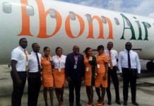The Chief Operating Officer of Ibom Air, Mr George Uruesi, flanked by the airline's pilots and crew during the airline's inaugural flight to the Murtala Muhammed Airport 2, Lagos on Friday, June 7, 2019.