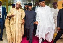 Vice President Yemi Osinbajo attends public presentation of the book titled 'BATTLELINES' by Chief Olusegun Osoba in Lagos. 8th July, 2019.