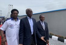 Gasco Marine MD, Bukola Badejo-Okusanya conducting Babatunde Fashola round their N2bn compressed gas plant in Abeokuta, Ogun state