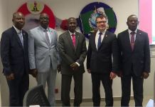 L-R: Ogundele Adewale, Chief Superintendent of Police, CSP; Umar Garba Baba, Commissioner of Police, CP Interpol; Acting Chairman of the EFCC, Ibrahim Magu; Sebastian Bley, Interpol's Coordinator on Anti-corruption and Olude Ademola a Police Inspector