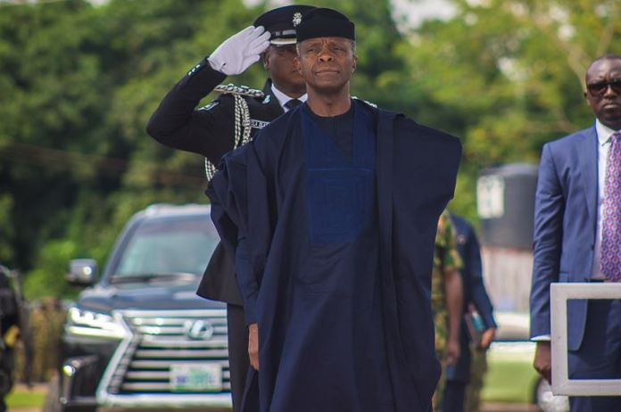 Vice President Yemi Osinbajo, SAN, at the annual Nigeria Army Day Celebration in Ikeja Cantonment, Lagos