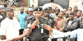 CSP Saheed Egbeyemi addressing the media after the truck and bikes were intercepted