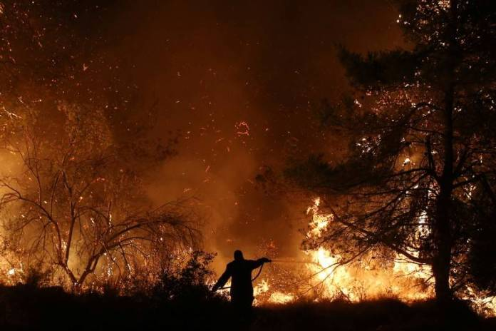 A firefighter tries to extinguish a wildfire burning near the village of Makrimalli on the island of Evia, Greece, August 13, 2019. REUTERS/Costas Baltas