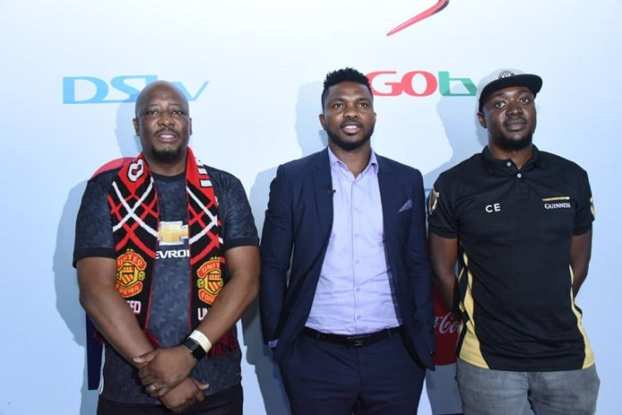 -R: Martin Mabutho, Chief Customer Officer, MultiChoice Nigeria; Ex-international and Ex-Super Eagles Captain, Joseph Yobo and Collins Eboro, Assistant Brand Manager, Guinness during the Launch of 2019/2020 Premier League Season held at the National Institute of Sports Hall Lagos today Sunday 11th of August 2019