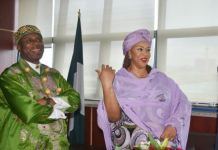 Minister of Transportation Rotimi Amaechi and Minister of State for Transporation, Gbemisola Saraki