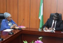 Mrs Maryam Uwais and Minister of State for Budget and Planning, Clem Agba