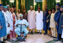 President Muhammadu Buhari and Vice President Yemi Osinbajo with NWC of the APC at the State House in Abuja,
