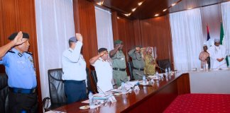 President Muhammadu Buhari meeting with Service Chiefs at the State House