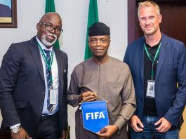 Vice President Yemi Osinbajo (middle) with Nigeria Football Federation (NFF) Amaju Pinnick and Head of FIFA inspection team, Mr Kaj Heyral