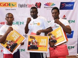 L-R: Abolade Akintunde 3rd place, Alaba Omotola 1st place and Uhibudon Okafor 2nd place during the GOtv Boxing NextGen Search 5 held at the Indoor Sports Hall of Kwara State Stadium today Friday 30th of August 2019