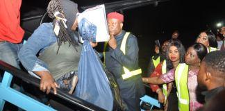 NIDSOM DG, Abike Dabiri-Erewa receiving Nigerians returning from South Africa