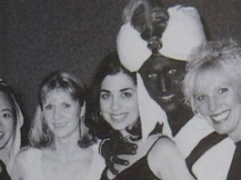 PM Justin Trudeau with a blackface in a yearbook
