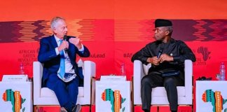 Former UK PM, Tony Blair and Vice President Yemi Osinbajo speaking at the African Green Revolution