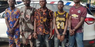 The five suspects arrested by the Rapid Response Squad in Lagos for stealing and attempting to sell a Bolt car