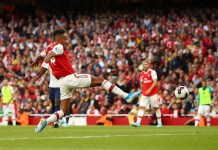 Arsenal striker Aubameyang with the equalizer in a thrilling derby