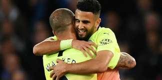 Riyad Mahrez celebrates goal with teammate