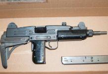 The sub machine gun seized by police