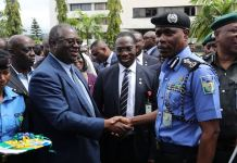 Chairman, Federal Inland Revenue Service (FIRS), Mr. Tunde Fowler with Inspector-General of Police, Mohammed Adamu at the Nigeria Police Headquarters in Abuja yesterday