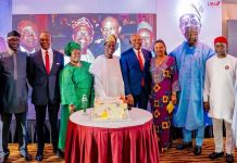L-R: Minister of Industry, Otunba Niyi Adebayo; GMD/CEO, United Bank for Africa(UBA) Plc, Mr. Kennedy Uzoka; the celebrant and Former Director, UBA Plc, Chief Kola Jamodu and wife; Chairman, UBA Plc, Mr. Tony Elumelu; Wife of Vice Chairman, UBA Plc, Mrs Dayo Keshi; Senator Tolu Odebiyi; and Minister of State for Mines and Steel Development, Uchechukwu Ogah, during the dinner party in honour of Chief Jamodu who recently retired from the Board of the Bank, in Abuja recently