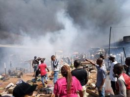 Fire ravaged Upper Iweka in Onitsha after an oil tanker spilled its content