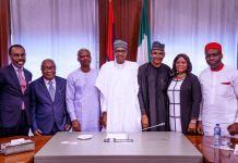 President Muhammadu Buhari and members of the Economic Advisory Council