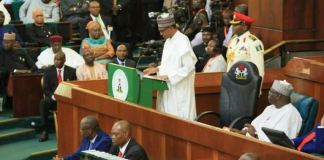 President Muhammadu Buhari presenting 2020 budget to the national assembly