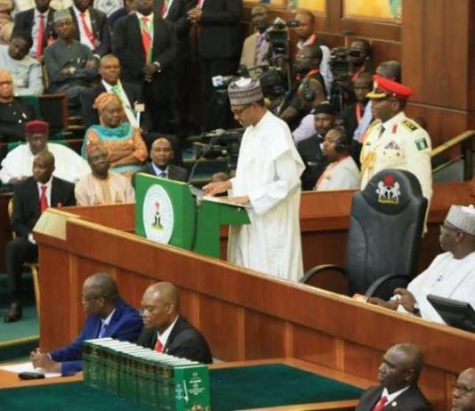 President Muhammadu Buhari presenting 2020 budget to the national assembly