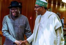 President Muhammadu Buhari receives former President Goodluck Jonathan at the State House on Thursday