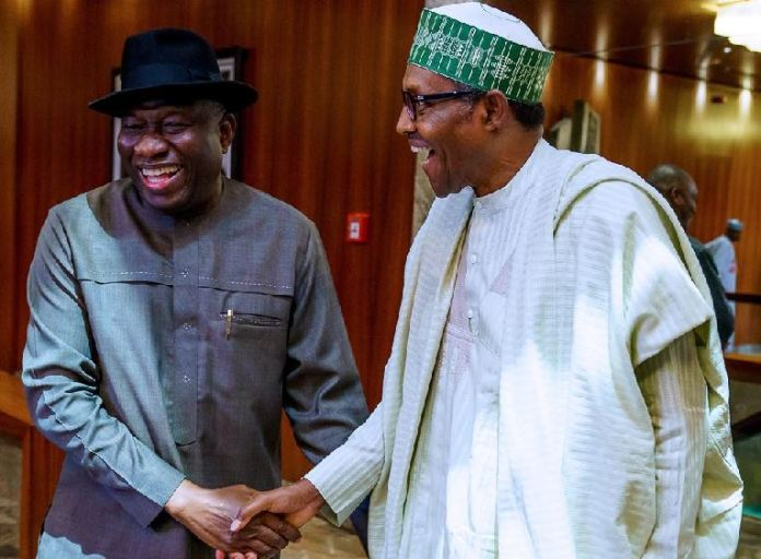 President Muhammadu Buhari receives former President Goodluck Jonathan at the State House on Thursday
