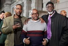 Alfred Chestnut, Andrew Stewart and Ransom Watkins (L-R) were teenagers when convicted