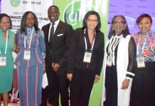 Globacom delegate, Eyitayo Okandeji, Chairman, Board of Trustees, WIMBIZ, Funmi Roberts, Chairman, Sterling Bank, Asue Ighodalo, Globacom delegate, Justina Abdulateef, First Bank Chairman, Mrs. Ibukun Awosika, and Globacom delegate, Marie Macfoy, at the 2019 edition of WIMBIZ conference at Eko Hotels and Suites, Lagos recently.