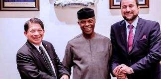 Vice President Yemi Osinbajo, SAN with Nicaraguan Foreign Minister H.E. Denis Moncada Colindres, and the Nicaraguan Minister for Special Delegation of the President for Africa, Middle East and Arab H.E. Mohamed Farrara Lashtar